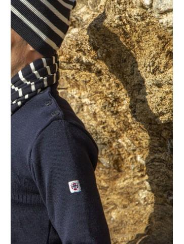 Pull Marin mixte PETIT ERQUY marine - pure laine coupe ajustée