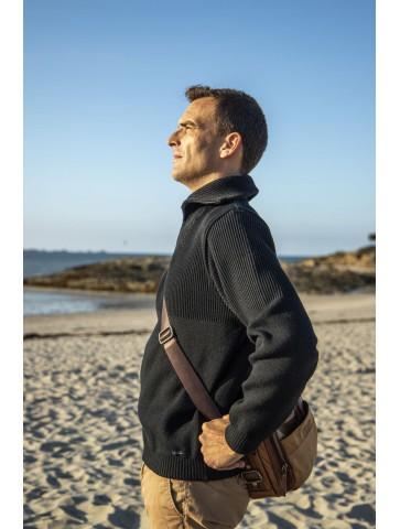 Pull homme col CAMIONNEUR noir en 50% laine - coupe confort