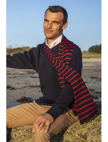 Pull col V FAOUET bleu marine - 100% laine coupe confort