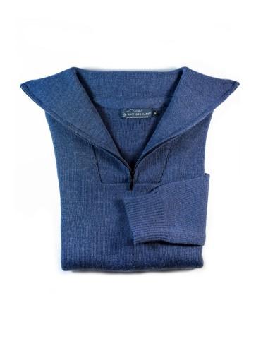 Pull PETIT CAMIONNEUR bleu jean en 50% laine