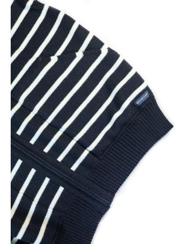 gilet à capuche rayé GWENN bleu marine / écru - 50% laine
