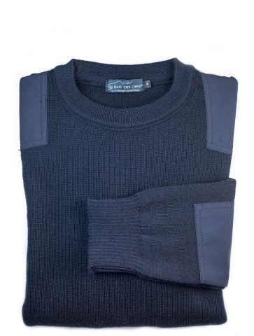 Pull Marin uni BRISE MER bleu marine - pure laine coupe confort