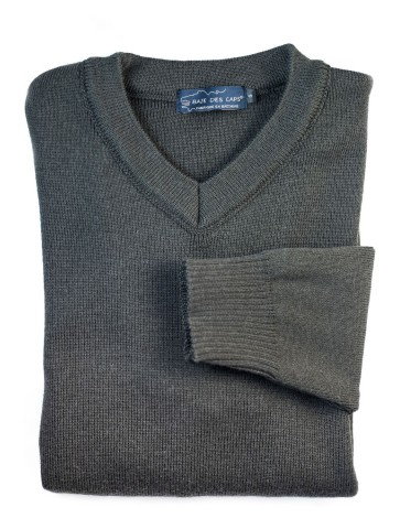 Pull col V FAOUET marron - 100% laine coupe confort