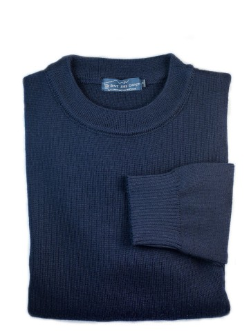 Pull col rond FAOUET bleu marine - 100% laine coupe confort