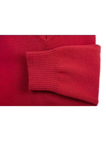 Pull col V FAOUET rouge - 100% laine coupe confort