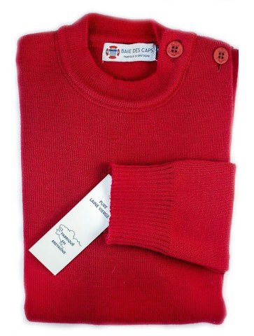 Pull Marin uni ERQUY rouge - pure laine coupe confort