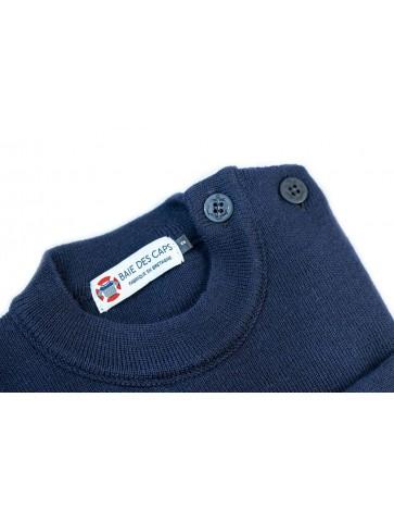 Pull Marin uni ERQUY marine - pure laine coupe confort