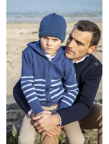 Bonnet marin enfant bleu jean - 50% laine