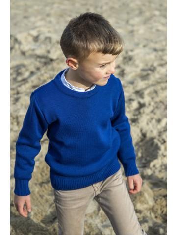 Pull col rond FAOUET bleu roi - 50% laine coupe confort