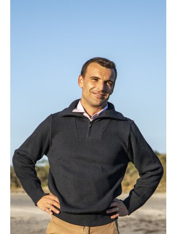 Pull homme col CAMIONNEUR RICHELIEU bleu marine en 50% laine - coupe confort