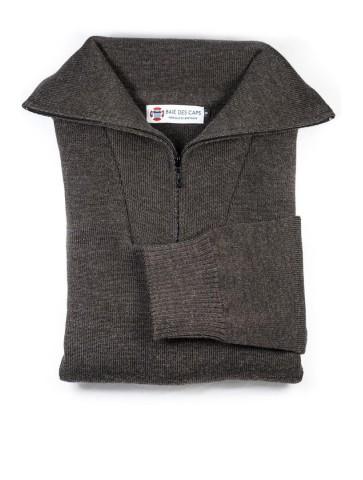 Pull homme col CAMIONNEUR marron en pure laine - coupe confort