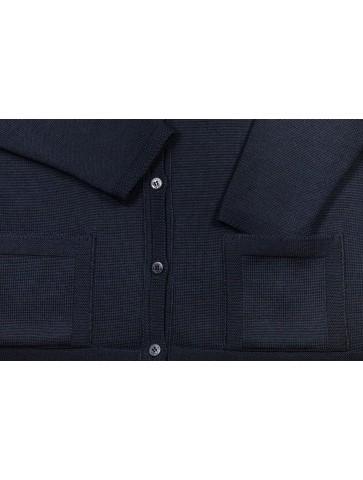 gilet BORNEO marine - 50% laine coupe droite, poches plaquées.
