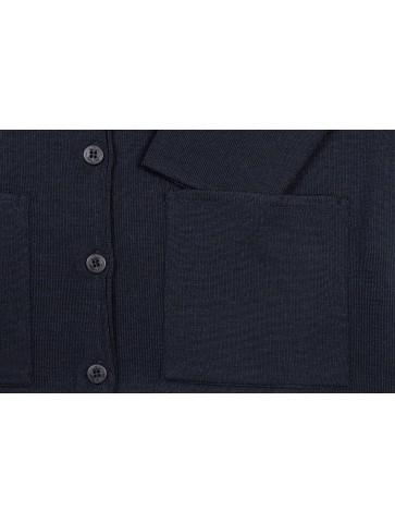 gilet col V BERNIC bleu marine - 50% laine coupe droite, poches plaquées.