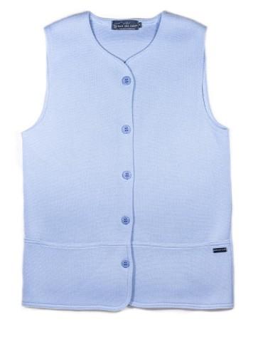 gilet sans manche col rond bleu ciel - 50% laine coupe droite, poches plaquées.