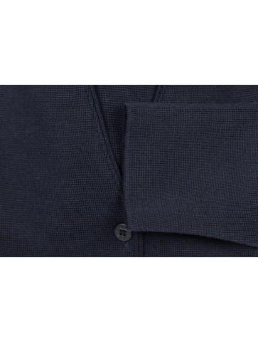 Veste col V PEN GUEN bleu marine - 50% laine coupe droite, avec deux poches.