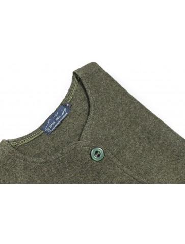 gilet sans manche col rond vert - 100% laine bouillie coupe droite
