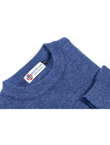 Pull col rond FAOUET bleu jean - 100% laine coupe confort