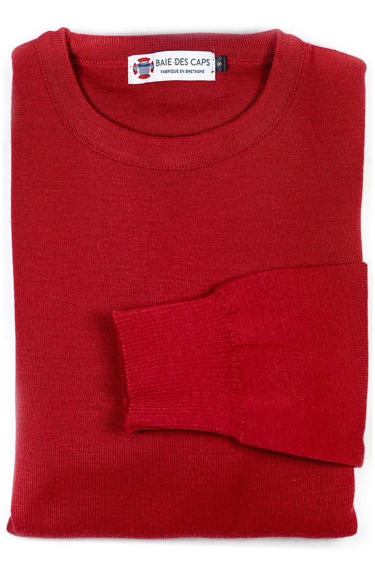Pull col rond HELICE rouge - 50% laine coupe confort