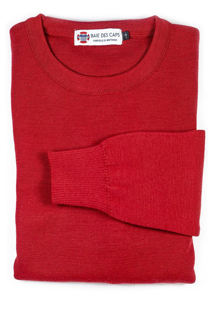 Pull col rond PETIT HELICE rouge - 50% laine coupe ajustée