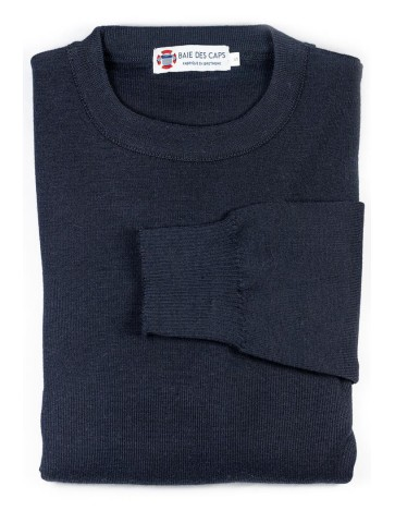 Pull col rond HELICE marine - 50% laine coupe confort