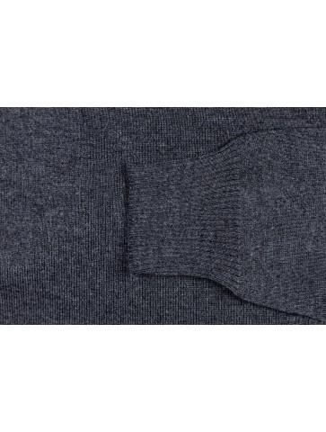 Pull col rond PETIT HELICE anthracite - 50% laine coupe ajustée