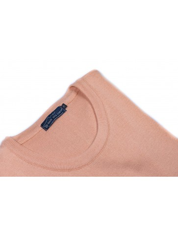 ROBE MANCHES COURTES col rond corail - 50% coton coupe confort