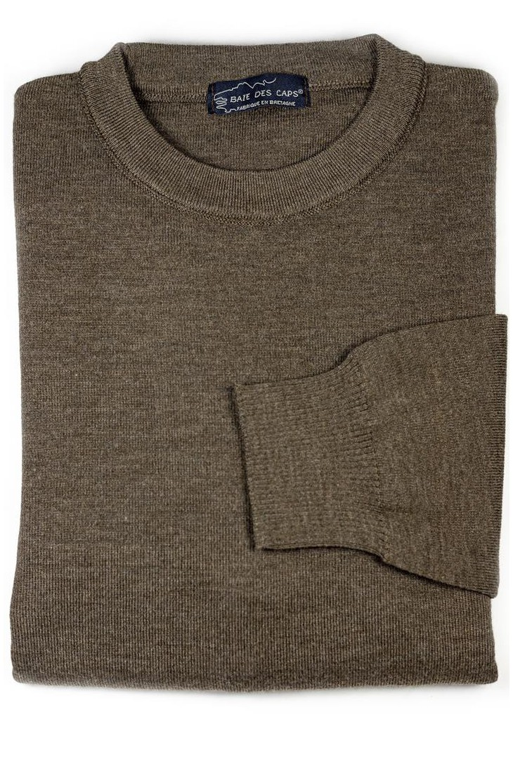 Pull col rond HELICE marron - 50% laine coupe confort