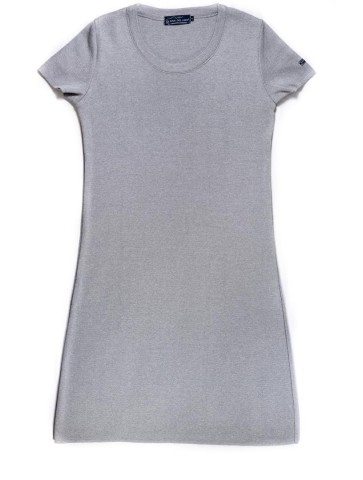 ROBE MANCHES COURTES col rond gris perle - 50% coton coupe confort