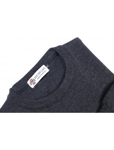Pull col rond HELICE anthracite - 50% laine coupe confort