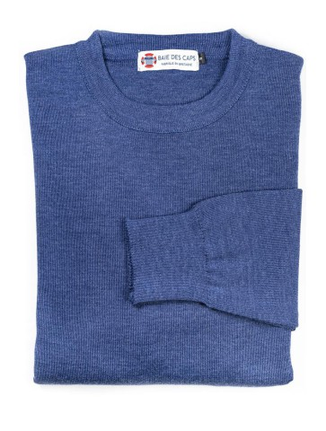 Pull col rond HELICE jean - 50% laine coupe confort