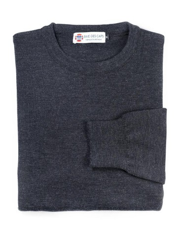 Pull col rond PETIT HELICE anthracite - 50% coton coupe ajustée