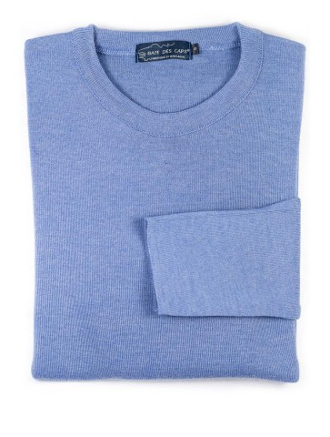 Pull col rond ALIZEE bleu gris - 50% laine coupe confort