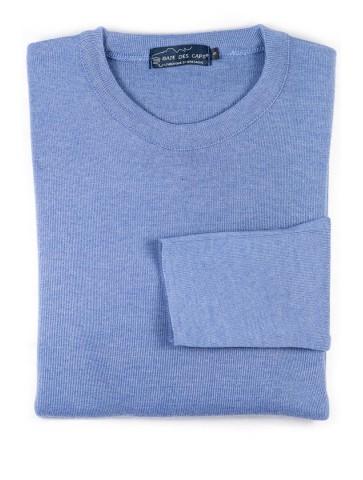 Pull col rond ALIZEE bleu gris - 50% laine coupe confort