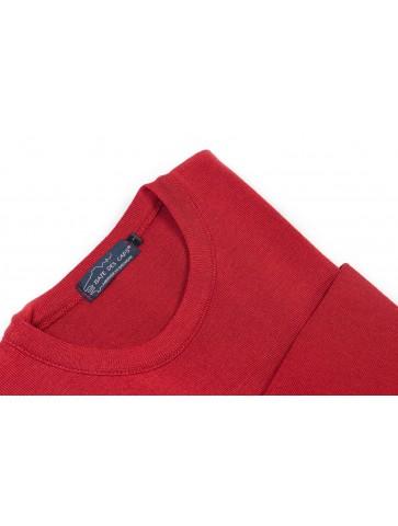 Pull col rond ALIZEE rouge - 50% laine coupe ajustée