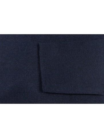Pull col rond ALIZEE marine - 50% coton coupe ajustée