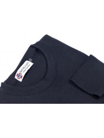 Pull col rond ALIZEE marine - 50% laine coupe ajustée