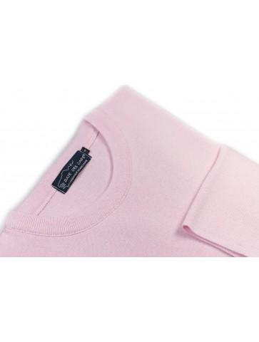 Pull col rond ALIZEE rose - 50% coton coupe ajustée