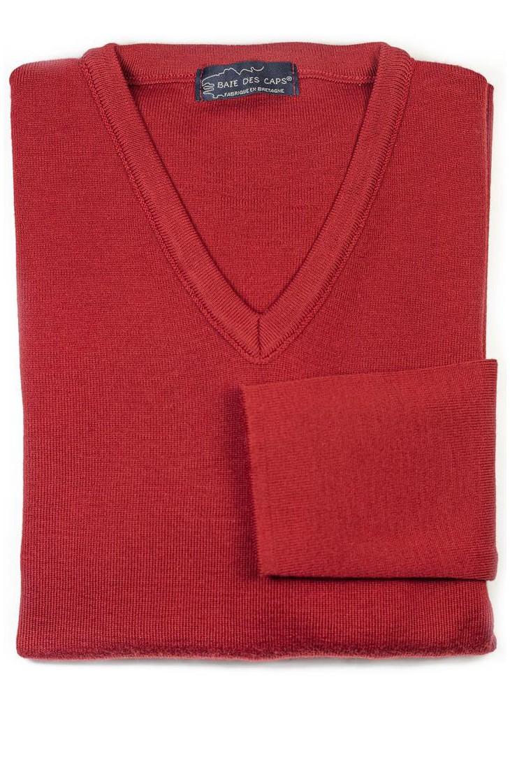 Pull col V ALIZEE rouge - 50% laine coupe ajustée