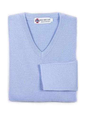 Pull col V ALIZEE bleu ciel - 50% laine coupe ajustée