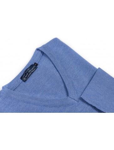 Pull col V ALIZEE bleu gris - 50% laine coupe confort