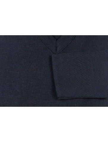 Pull col V ALIZEE marine - 50% laine coupe ajustée