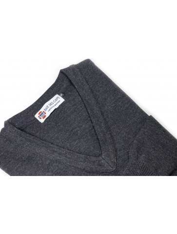 Pull col V HELICE anthracite - 50% laine coupe confort