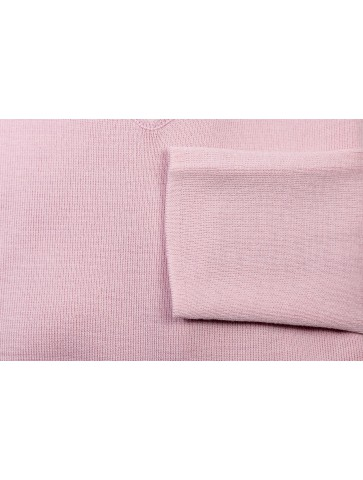 Pull col V CARAIBE rose - 50% laine coupe confort