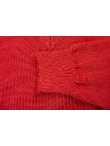 Pull col V HELICE rouge - 50% laine coupe confort