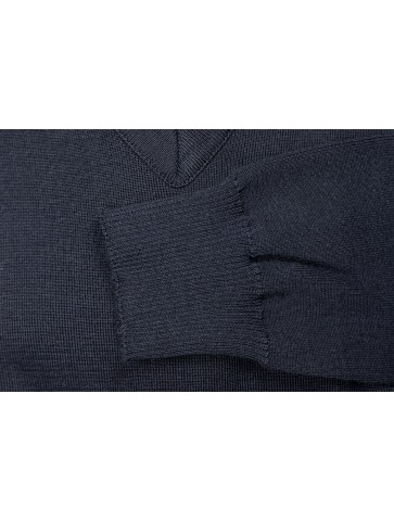 Pull col V HELICE marine - 50% laine coupe confort
