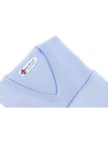 Pull col V CARAIBE bleu ciel - 50% laine coupe confort