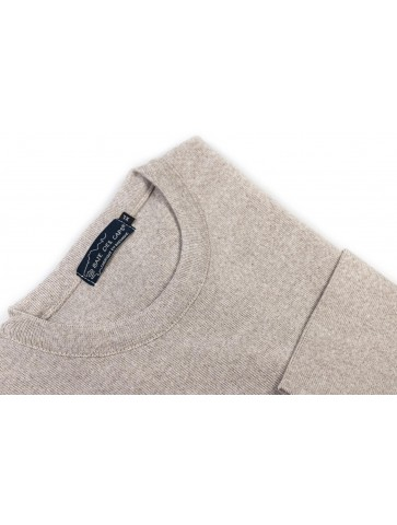 Pull col rond CARAIBE beige - 50% laine coupe confort