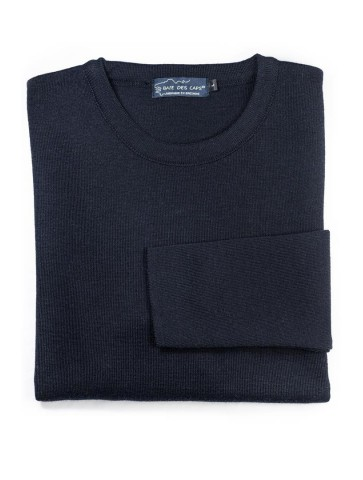 Pull col rond CARAIBE bleu marine - 50% laine coupe confort