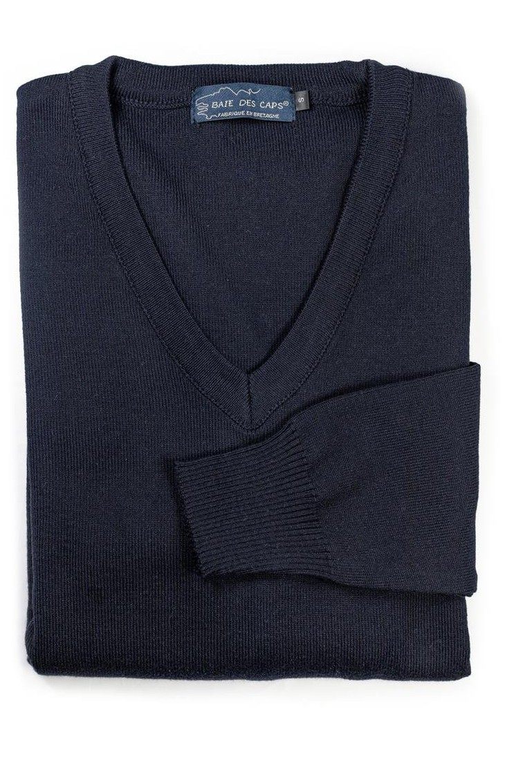 Pull col V HELICE marine - 50% coton coupe confort