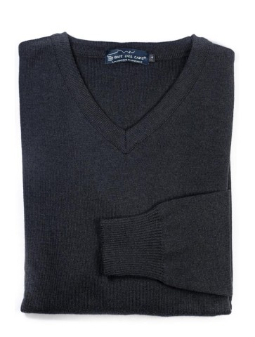 Pull col V PETIT HELICE anthracite - 50% coton coupe ajustée